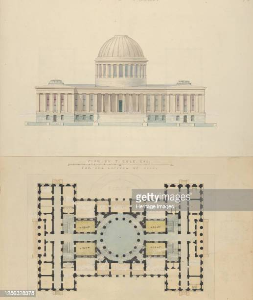 Plan by T. Cole, Esq. For the Capitol of Ohio, circa 1839. Artist Alexander Jackson Davis.