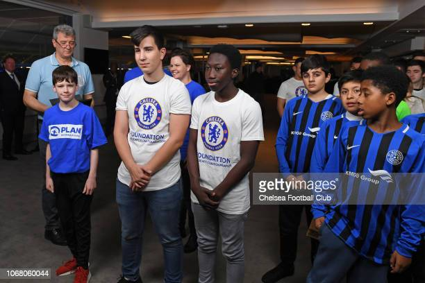 Plan International and Foundation guests at the Emirates FA Cup Third Round Draw at Stamford Bridge on December 3 2018 in London England