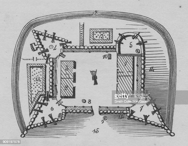 Plan of Fort Frederick, on the Potomac River, Big Pool, Maryland, 1754. From the New York Public Library.
