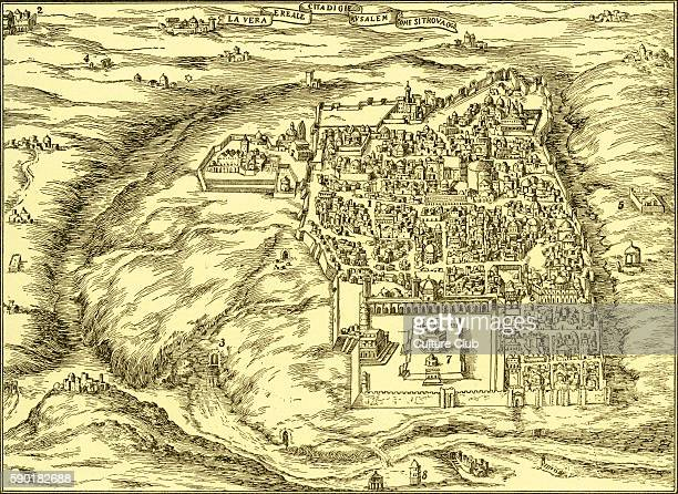 Plan of Jerusalem c1600 Map of the city shows 1 Jewish Quarter 2 Bethlehem 3 Pool of Siloam 4 Tomb of Rachel 5 Tomb of Kings 6 Palace of Herod 7...