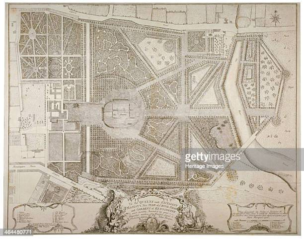 Plan of Kensington Palace and gardens, London, 1736. The gardens were laid out between 1728 and 1738 by Henry Wise and Charles Bridgeman for Queen...