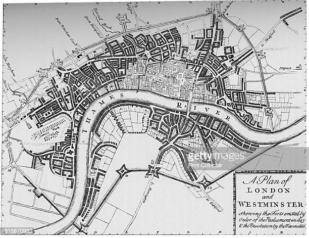 Plan of London and Westminster 1749 A plan of London published in The Gentleman's Magazine in June 1749 showing the 1643 defences for the Civil War...