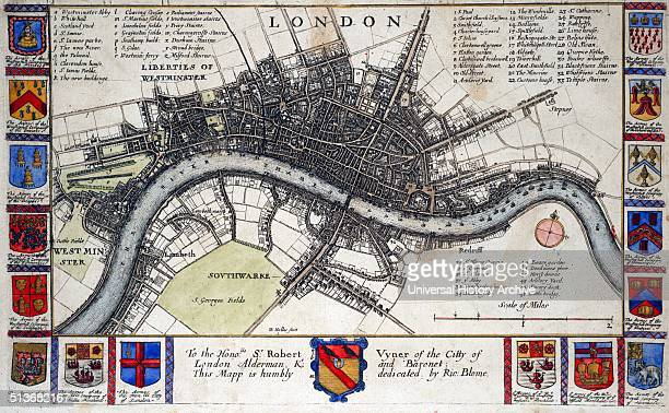 Plan of London before the great fire of London. Created by Wenceslaus Hollar Bohemian etcher, known in England as Wenceslaus or Wenceslas and in...