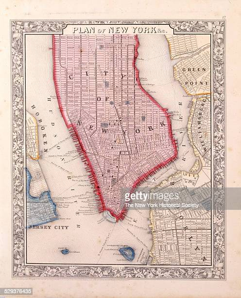 Plan of New York c in Manhattan as far north as 46th Street 1860 Black and color ink with hand coloring on paper by S Augustus Mitchell Jr