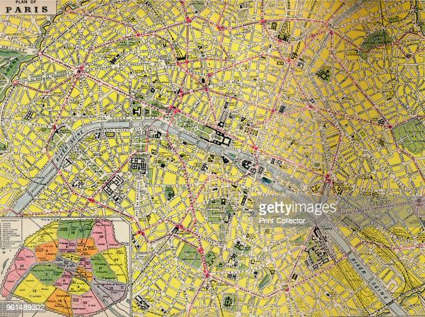 Plan of Paris Central District of the City of Light With its Streets and Railways and a plan of the Arrondissements' circa 1930s From Geographical...