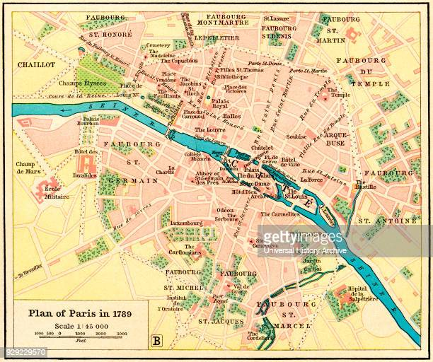 Plan of Paris France in 1789 From Historical Atlas published 1923