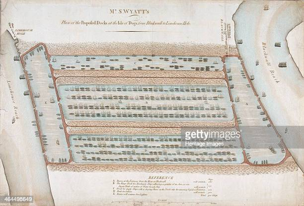 Plan of proposed docks at the Isle of Dogs now the site of West India Docks London 1820