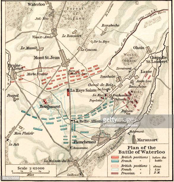 Plan of the Battle of Waterloo June 1618 1815 From Historical Atlas published 1923