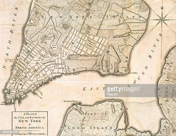 Plan of the City and Environs of New York in North America showing present day lower Manhattan and parts of Long Island the East River and ferry...