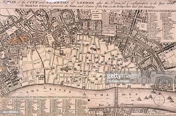 Plan of the City of London and surrounding area after the Great Fire of London in 1666.