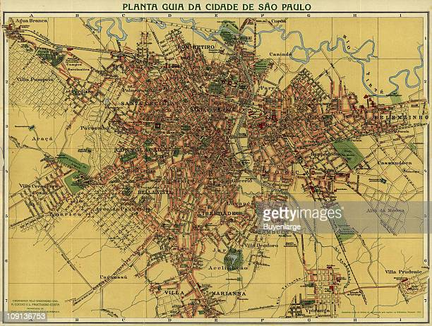 Plan of the city of Sao Paolo Brazil by Alexandre Mariano Cococi 1913