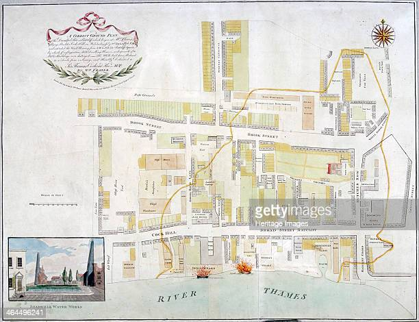 Plan of the fire that took place at Ratcliff in Stepney London in 1794 The area was devastated by the worst of many fires which constantly swept...