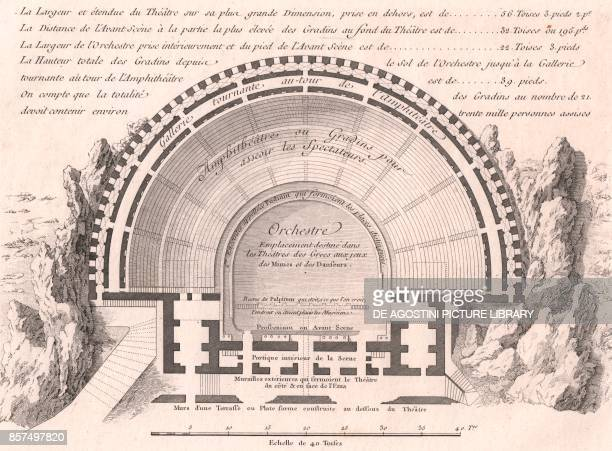 Plan of the Greek Theatre in Taormina Sicily Italy etching from Voyage pittoresque a Naples et en Sicile Nouvelle edition by JeanClaude Richard de...
