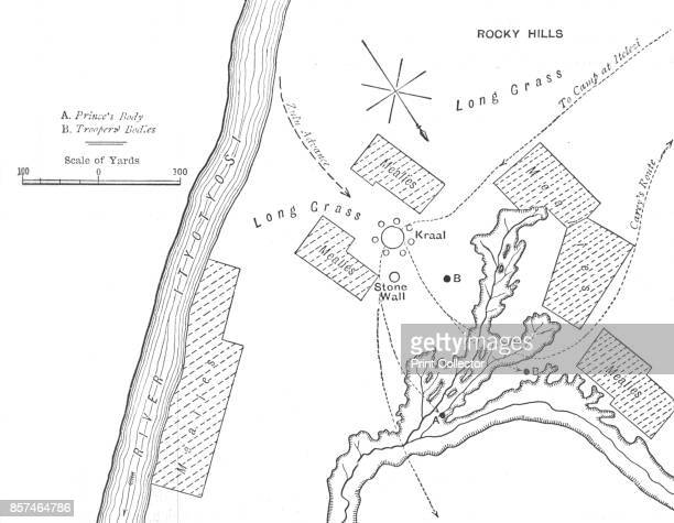 Plan of the Ground Where Prince Louis Napoleon was killed ' circa 1880 From British Battles on Land and Sea Vol IV by James Grant [Cassell Petter...