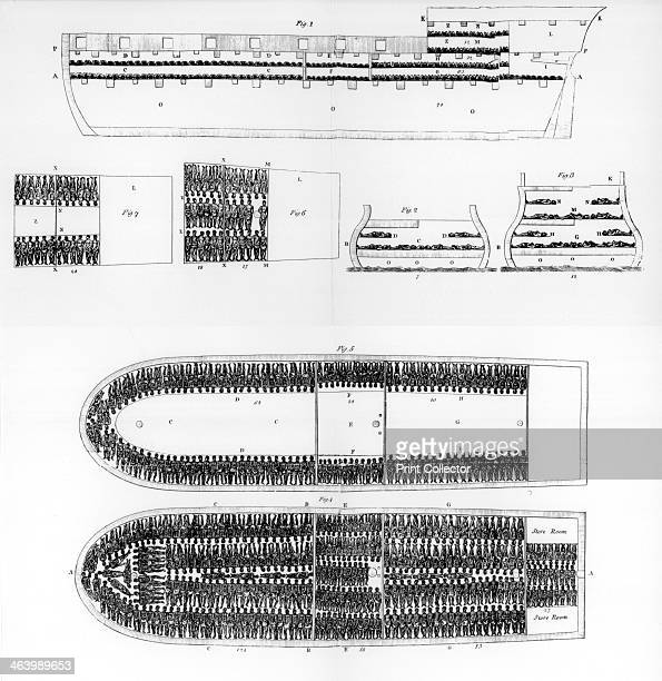 A plan of the interior of a slave ship 1808 A plan of a slave ship prepared by the Wilberforce Committee to give the spectator an idea of the...