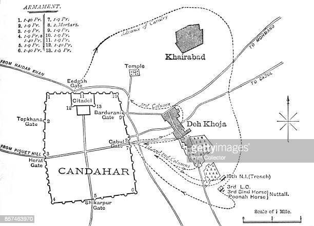 Plan of the Sortie from Candahar ' circa 1880 From British Battles on Land and Sea Vol IV by James Grant [Cassell Petter Galpin London Paris...