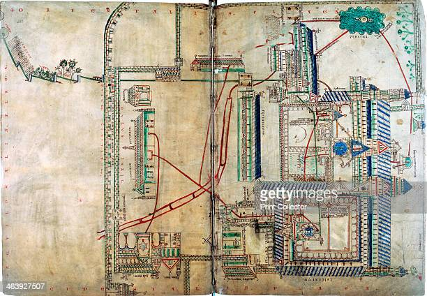 Plan of the water supply system to Canterbury Cathedral c1150 The cathedral complex was supplied by five springs outside city Water pipes are red...