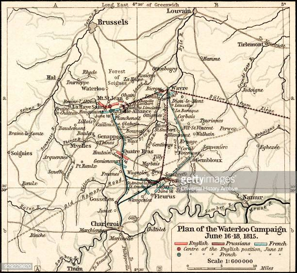 Plan of the Waterloo Campaign June 1618 1815 From Historical Atlas published 1923