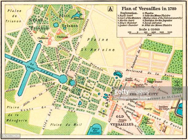Plan of Versailles France in 1789 From Historical Atlas published 1923