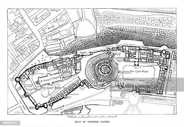 Plan of Windsor Castle c1888 Illustration from The Life Times of Queen Victoria Vol II by Robert Wilson
