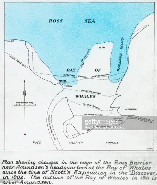 Plan showing changes in the edge of the Ross Barrier Full caption reads 'Plan showing changes in the edge of the Ross Barrier near Amundsen's...