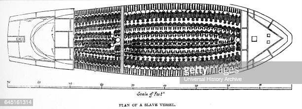 Plan view of a SLAVER published in 1848 but based on a sketch of 1823 or 1824 in the possession of a Captain of a Royal Navy vessel He said that when...