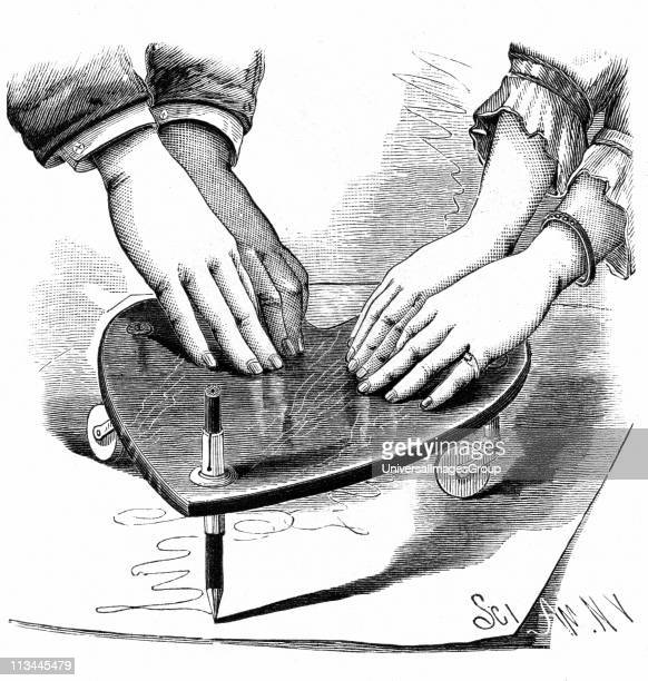 Planchette or Ouija board 1885 Method of using the Planchette for spirit writing during a seance From The Scientific American Wood engraving