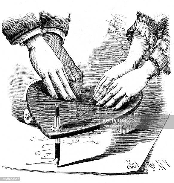 Planchette or ouija board 1885 Method of using the planchette for spirit writing during a séance From The Scientific American