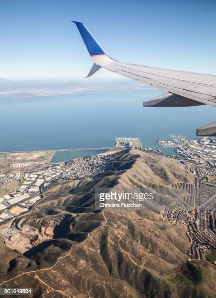 Plane above Silicon Valley, view of the San Francisco Bay