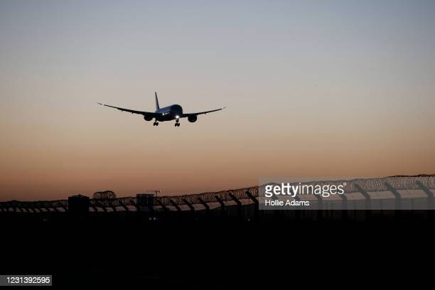 Plane arrives at Heathrow Airport on February 26, 2021 in London, England. Travellers arriving in the UK from February 15 2021 onwards from countries...