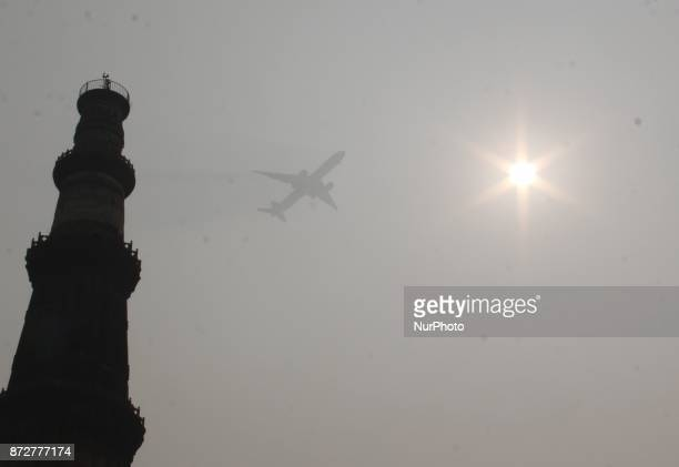 Plane arriving in New Delhi on November 11 2017 Large swathes of India's northern states remained under dense smog that has shut hundreds of...