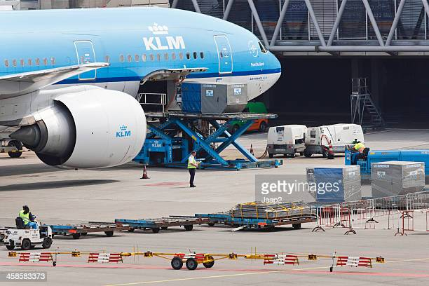 KLM plane being serviced at Schiphol Airport