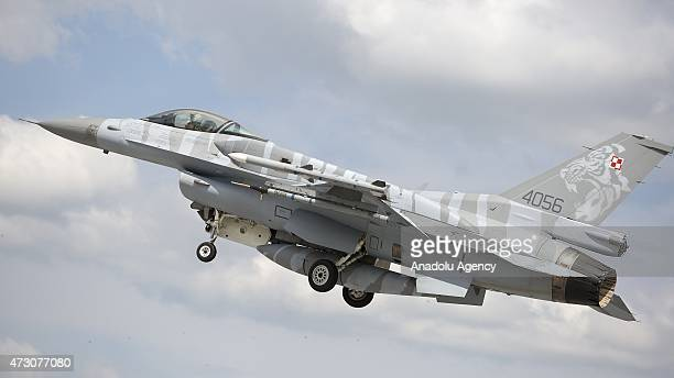 F16 plane belonging to the Polish Air Forces is seen in the sky during the NATO Tiger Meet 2015 drill press tour at the Konya 3rd Main Jet Base...