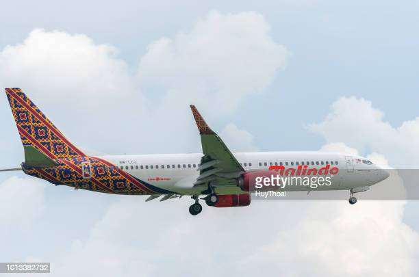 plane boeing 737-800 of malindo air plane landing into tan son nhat international airport in ho chi minh city, vietnam - boeing 737 800 stock pictures, royalty-free photos & images