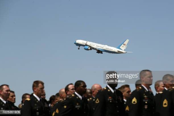 A plane carry the remains of US Sen John McCain departs Goldwater Air National Guard Base Phoenix Sky Harbor International Airport following a...