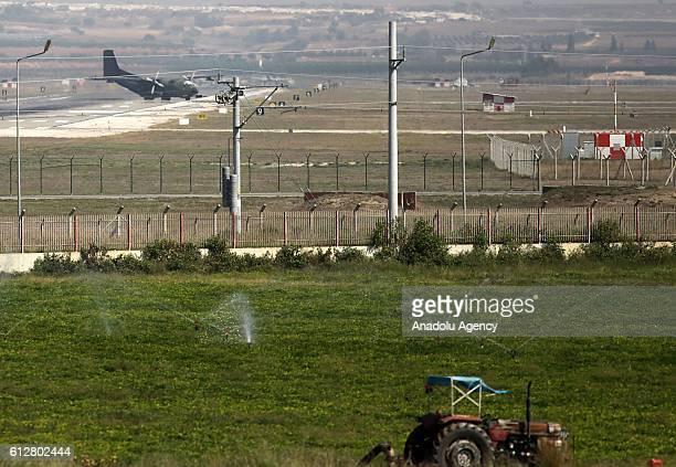 A plane carrying German federal parliaments defense committee members arrive at Incirlik 10th Adana Tanker Base Commander in AdanaTurkey on October 5...