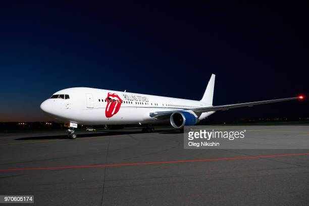 A plane carrying members of the Argentina national football team to compete in the 2018 World Cup at Zhukovsky airport on June 9 2018 in Moscow Russia