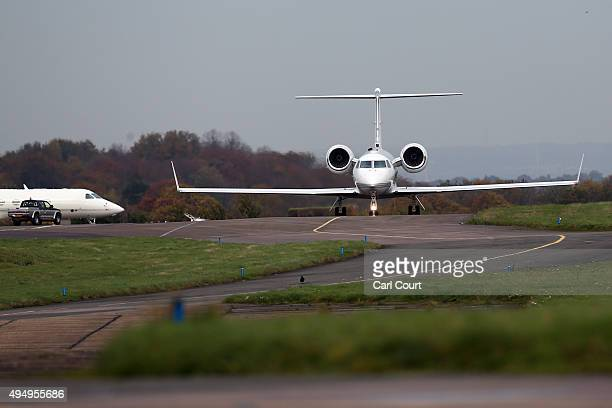 Plane carrying Shaker Aamer, the last UK Guantanamo Bay detainee to be released arrives on October 30, 2015 in Biggin Hill Airport, England. Mr Aamer...