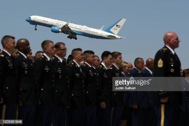 A plane carrying the remains of US Sen John McCain departs Goldwater Air National Guard Base Phoenix Sky Harbor International Airport following a...