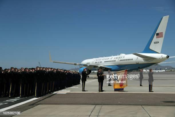 A plane carrying the remains of US Sen John McCain prepares to depart Goldwater Air National Guard Base Phoenix Sky Harbor International Airport...