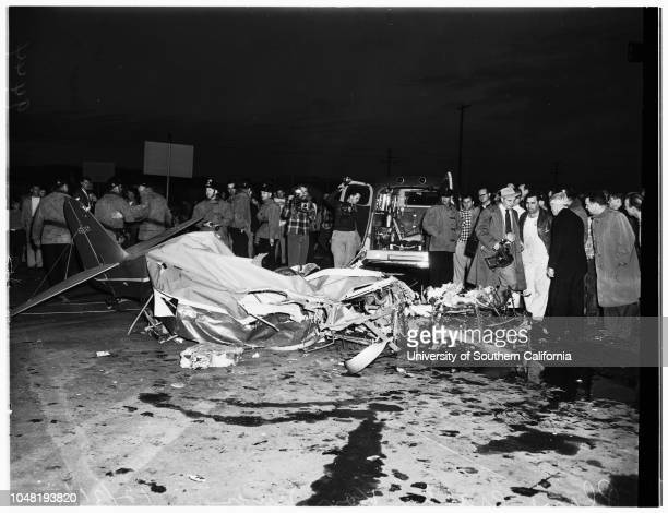 Plane crash kills two, 31 December 1951. Jay Campbell -- 30 years;Judy Campbell -- 8 years.;Caption slip reads: 'Photographer: Glickman. Date: ....