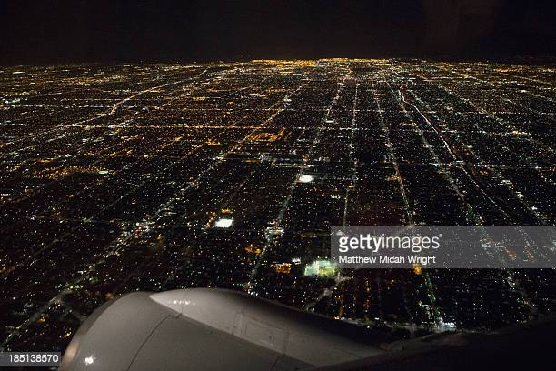 A plane descending on Los Angeles