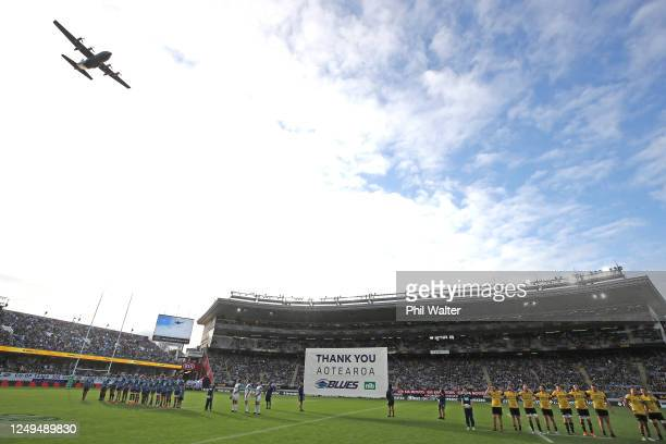 Plane does a flypast over the stadium during the round 1 Super Rugby Aotearoa match between the Blues and the Hurricanes at Eden Park on June 14,...