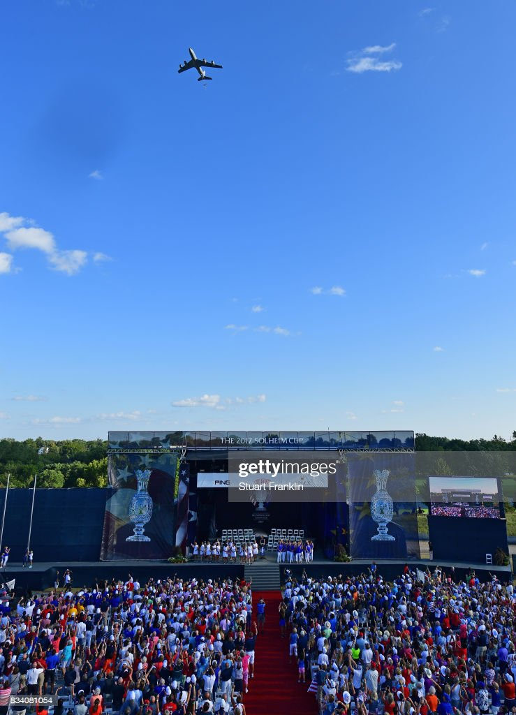A plane flies over during the opening ceremony prior to the start of The Solheim Cup at Des Moines Golf and Country Club on August 17, 2017 in West Des Moines, Iowa.