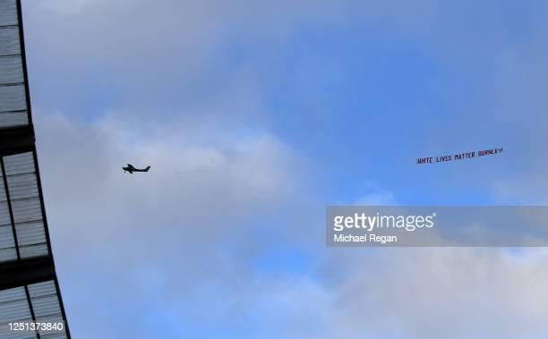 Plane flies over the stadium with a banner reading 'White Lives Matter Burnley' during the Premier League match between Manchester City and Burnley...