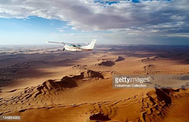 Plane Flying Over Namib Desert Namibia Africa