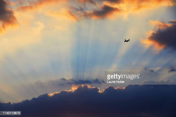 plane flying towards sunset and crepuscular rays, london, england, uk - sunset stock pictures, royalty-free photos & images