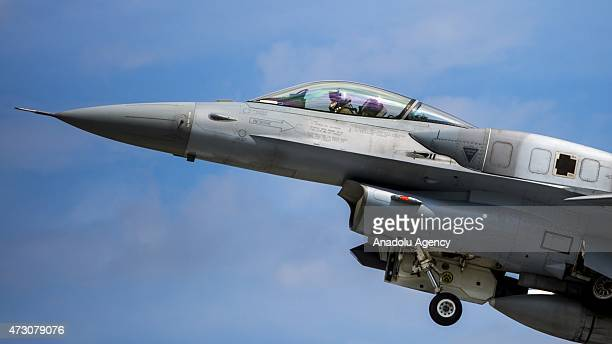 A plane is seen during the NATO Tiger Meet 2015 drill press tour at the Konya 3rd Main Jet Base Command in Konya Turkey on May 12 2015 France Italy...