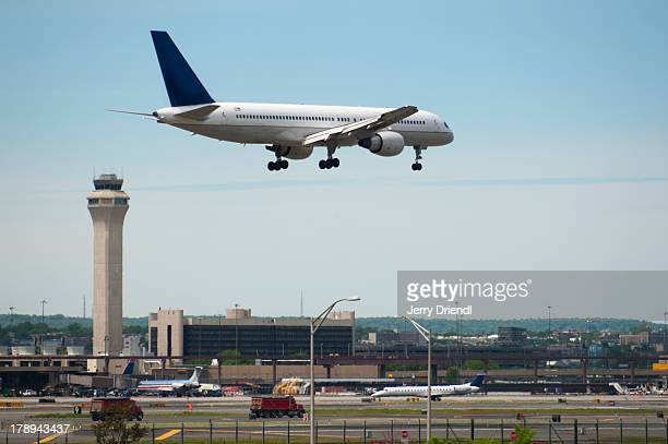 Plane landing at Newark Liberty Airport.