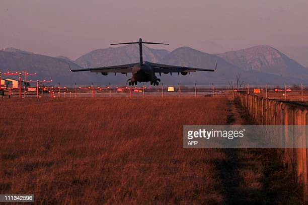 Plane lands at Aviano air base on March 21, 2011. Italy has provided seven airbases as key staging points for strikes by Western-led coalition forces...